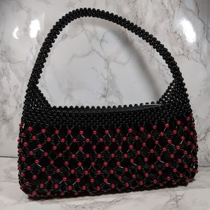 Red & Black Beaded Purse Handbag